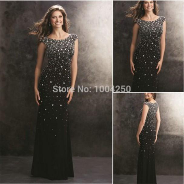 dress black dress prom dress evening dress mermaid prom dress crystal prom dress sexy dress