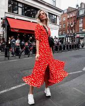 dress,floral dress,midi dress,front slit,v neck dress,white sneakers,crossbody bag,sunglasses