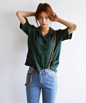 blouse emerald green asian asian fashion