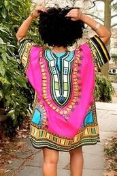 dress,print dress,colorful,vintage dress,party,pink,front pockets,wots-hot-right-now,boho dress,bohemian dress,print,aztec print dress,oversized,vintage,celebrity style