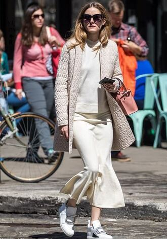 shoes sneakers skirt midi skirt blouse top jacket streetstyle spring outfits olivia palermo blogger