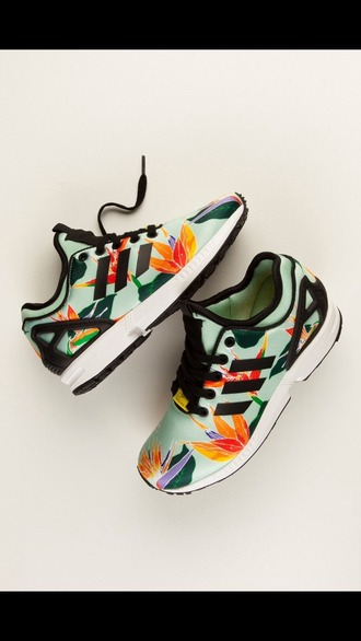 shoes runners sneakers adidas floral colorful running shoes