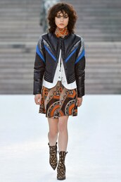 skirt,louis vuitton cruise collection,louis vuitton,mini skirt,boots,ankle boots,printed boots,jacket,down jacket,scarf,printed skirt