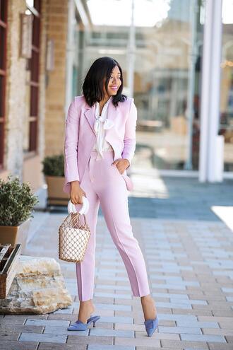 jadore-fashion blogger jacket pants blouse shoes bag suit blazer pink pants pink jacket