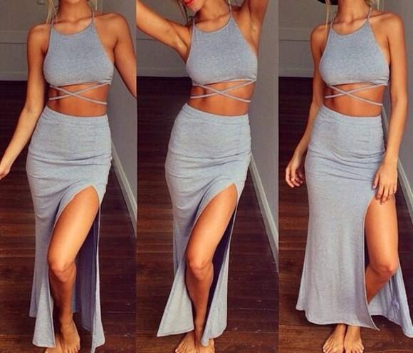 maxi skirt crop tops