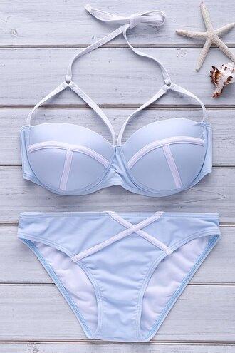 swimwear blue bikini fashion summer beach light blue gamiss