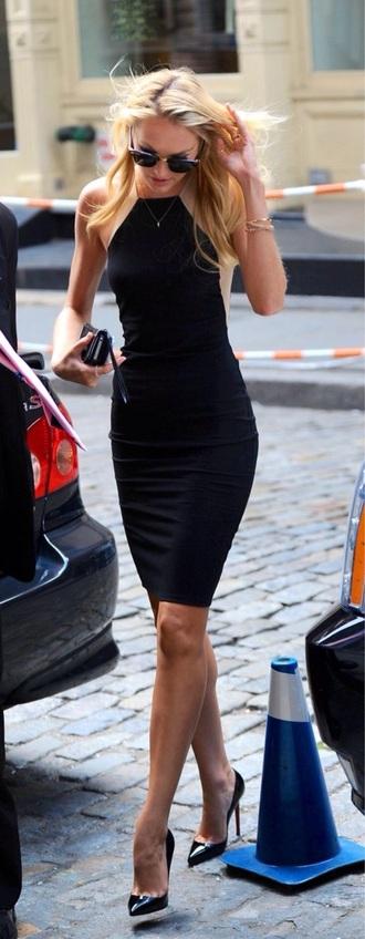 dress midi black nude candice swanepoel classy sleeveless
