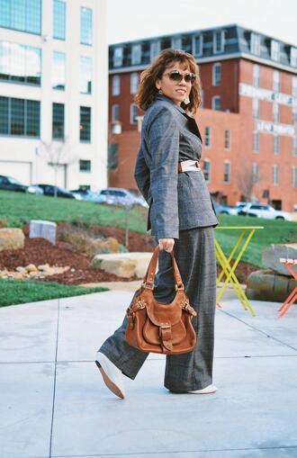 mysmallwardrobe blogger jacket pants blouse belt shoes bag sunglasses jewels suit blazer