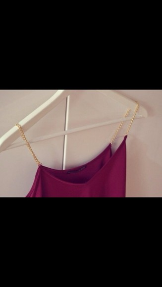 chain shirt cute chains gold chic summer sexy blouse tank top burgundy red wine wine red top clothes spring night out ootd hot classy classic tank backless tank day girls night out fun