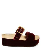 sandals,flatform sandals,velvet,burgundy,shoes