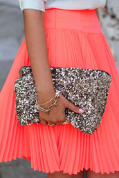 skirt,pleats,neon,sequins,coral,silver,clutch,bag,glitter,glitter clutch
