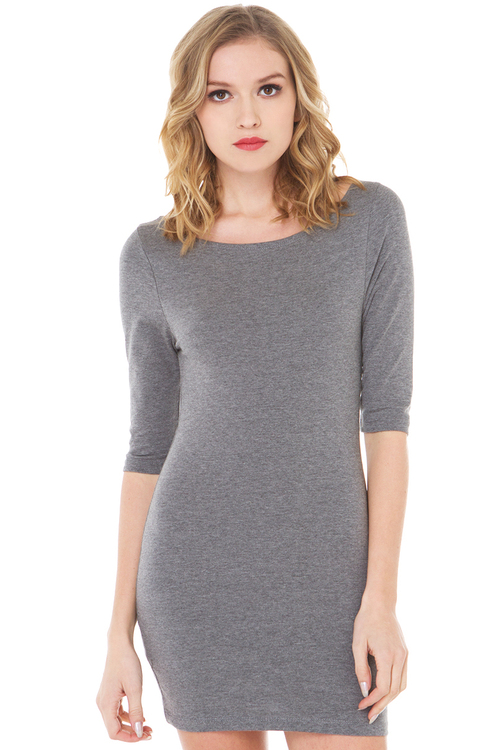 *doorbuster!* basic bodycon dress in charcoal