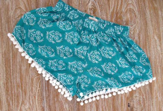 Pom Pom Shorts Emerald Green Patterned Chiffon with by ljcdesignss