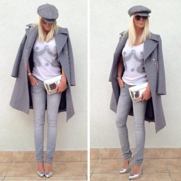 Coat Grey Long Coat Grey Pants White Top Grey Coat