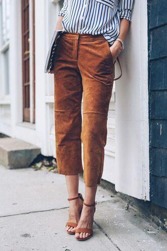 pants brown pants culottes suede pants shirt striped shirt sandals sandal heels high heel sandals brown sandals