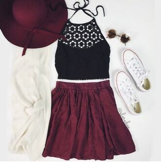 tank top shirt flowers tumblr crop tops red white burgundy black shirt flower shirt flower crop top crochet crochet shirt hat sunglasses floppy hat gold sunglasses