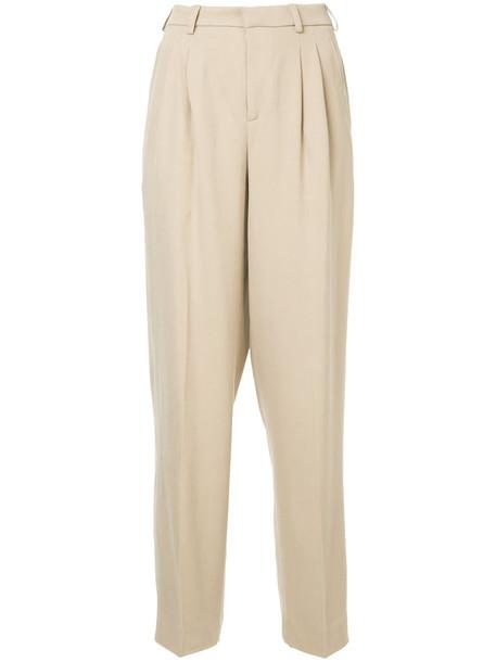Seya. Seya. - wide leg trousers - women - Silk/Cotton - S, Brown, Silk/Cotton