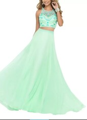 dress,mint dress,prom dress,prom gown,long prom dress,green,crop tops,plaid skirt,sequin prom dress