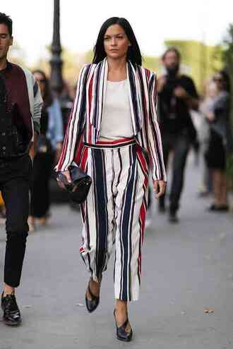 pants black clutch power suit two piece pantsuits matching set striped pants top white top blazer stripes striped blazer high heels shoes black high heels clutch streetstyle spring outfits work outfits