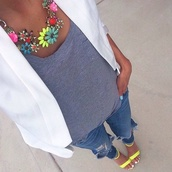 jewels,necklace,shoes,jacket,t-shirt,bright,spring,flower neckless,shirt,white blazer,big necklace,jeans