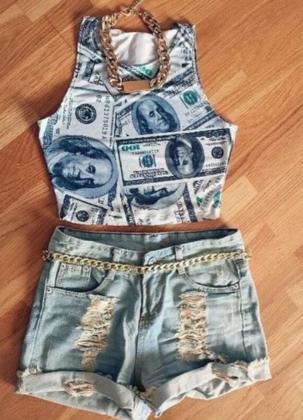 tank top crop tops money gold jewels belt High waisted shorts denim ripped shorts dope top cute fashion shirt money shirt