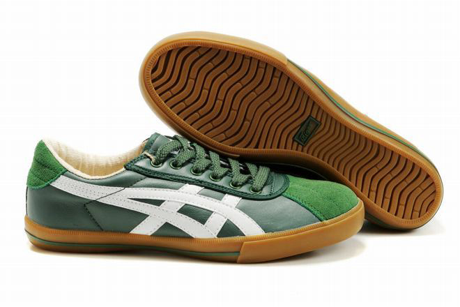 cheapest green white asics rotation 77 tiger trainers