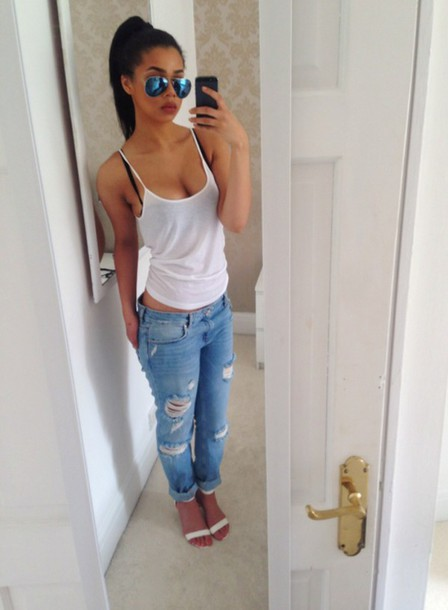 Jeans Boyfriend Jeans Grunge Swag Dope Hipster Style Instagram Shoes Shirt Tank Top