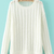 White Round Neck Long Sleeve Loose Knit Sweater - Sheinside.com