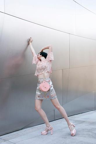a fashion nerd blogger top skirt shoes bag pink bag sandals pink heels pink top