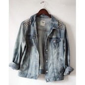 jacket,studded,jeans,denim jacket,blue,white,silver,light blue,studs,denim,studded jacket,vintage,punk,jacket with studded,coat,pins,jackets in jeans,hippie shirt,indie,grunge,hipster,swag,sweater,veste,shirt,cardigan,spring jacket