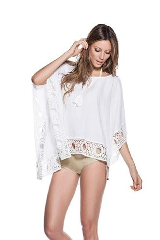dress white cotton white cover up lace details one size ondademar