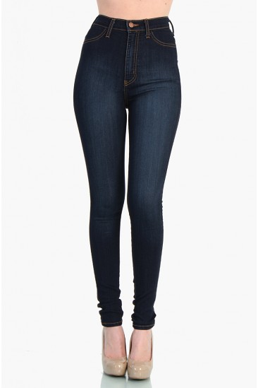 LoveMelrose.com From Harry & Molly | High Waist Dark Blue Jean