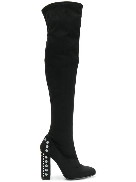 heel thigh boots women embellished leather black shoes