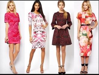 dress red dress pink dress short sleeve dress print dress lace