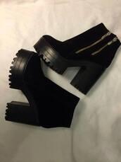 shoes,platform shoes,black,zip,high heels,boots