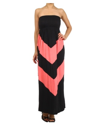 dress black black coral dress coral chevron strapless tube dress maxi dress spring outfits womens apparel chevron dresses