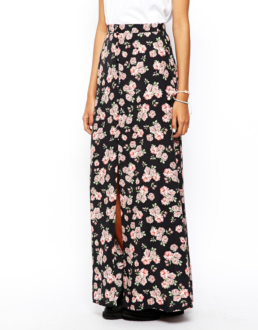 ASOS Maxi Skirt In Floral Print at asos.com