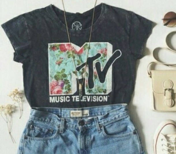 t-shirt flower mtv logo