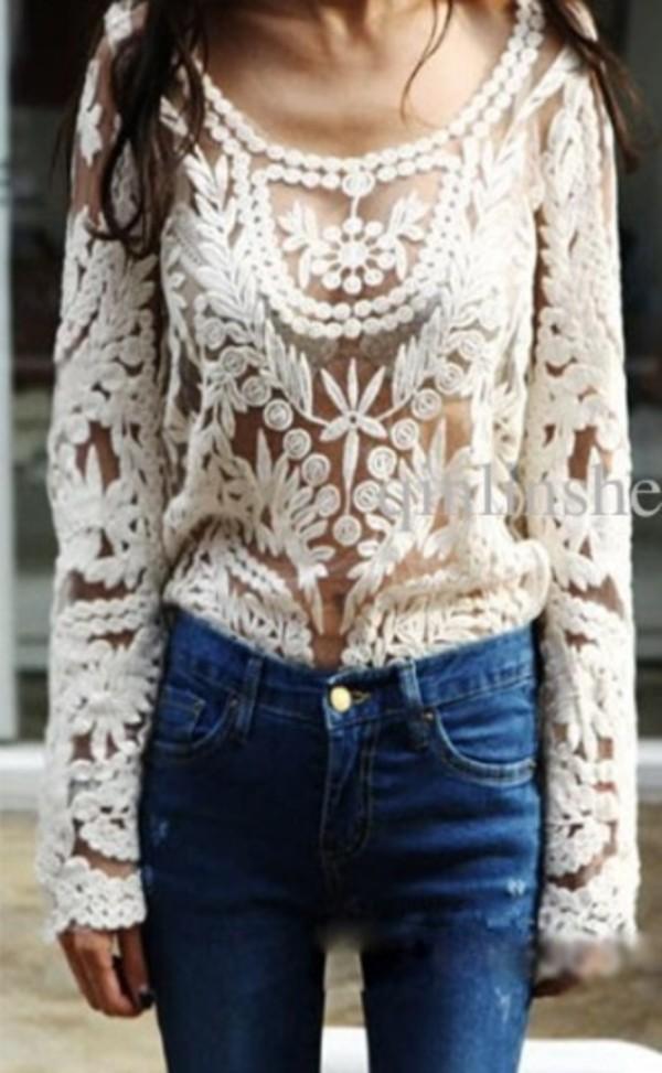 blouse white floral lace jeans
