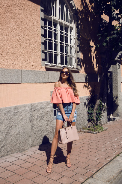 kenza blogger top skirt shoes bag sunglasses pink blouse off the shoulder top blouse