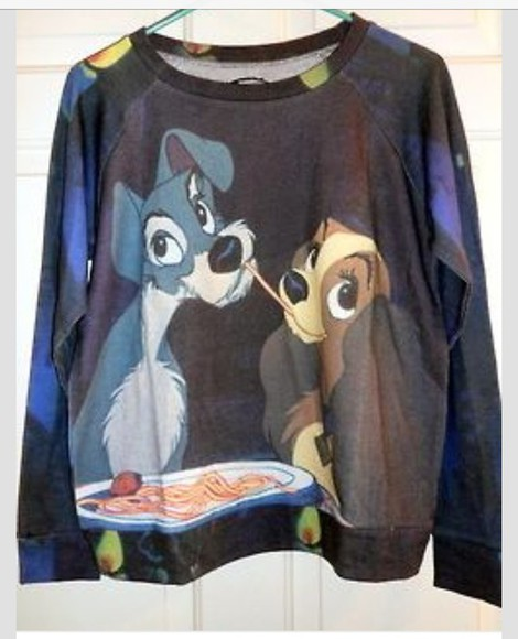 sweater disney disney sweater walt disney sweatshirt crewneck lady and the tramp dogs