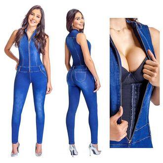 jumpsuit denim blue tight