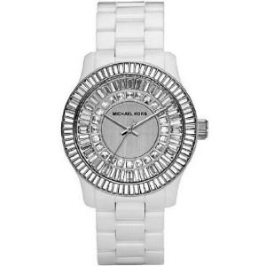 Michael Kors White Ceramic Baguette Link Bracelet Quartz Crystal MK5361 - Sale