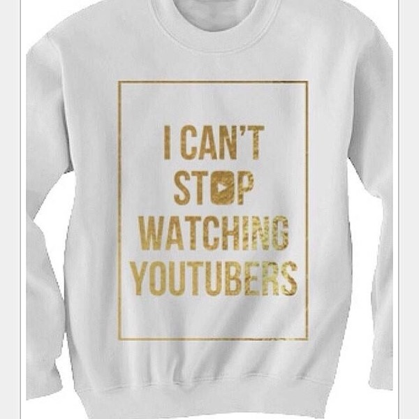 crewneck quote on it funny funny sweater gold youtuber tyler oakley white sweater