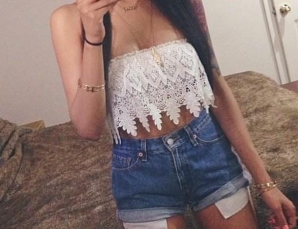 top white lace crop top
