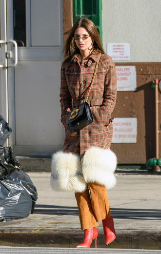 coat fur boots emily ratajkowski pants model off-duty streetstyle winter outfits winter coat