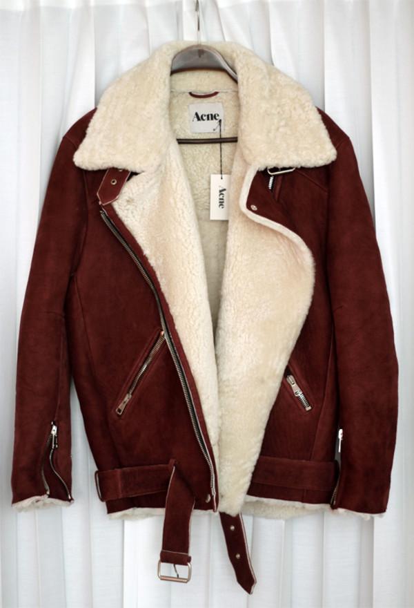 coat acne studios jacket maroon hot style shearling fur brown shearling jacket