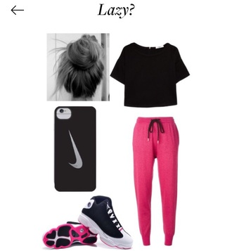 shirt cover phone cover sweatpants shoes hair pink black white jordan's nike shoes