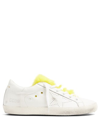 top fur leather white yellow