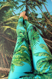 pants,tropical,print,palm tree print,leggings,palm tree,beach,backpack,back to school,bikini